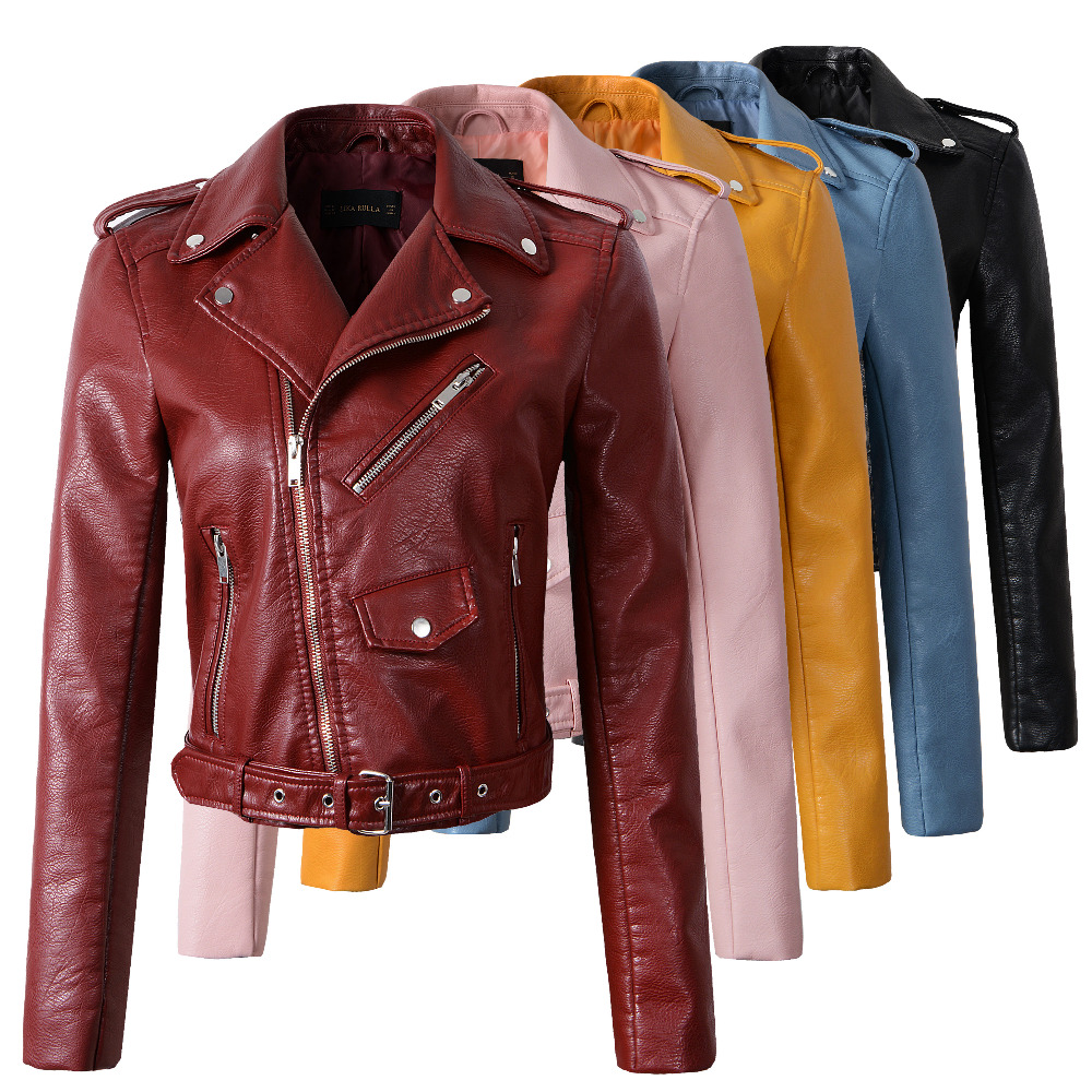 2018 New Fashion Women Autunm Winter Wine Red Faux <font><b>Leather</b></font> Jackets Lady Bomber Motorcycle Cool Outerwear Coat with Belt Hot Sale