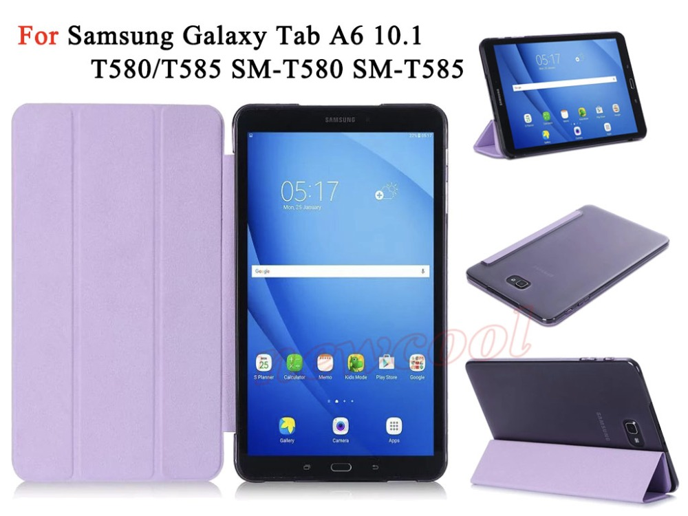 For Samsung Galaxy Tab A6 10.1 T585 T580 Tablet Ultra Slim Lightweight PU Leather Case A 6 Magnet Flip Cover Clear Back Cover nuglas 9h super hardness ultra slim 0 3mm design tempered glass screen film for samsung galaxy note4 n9100