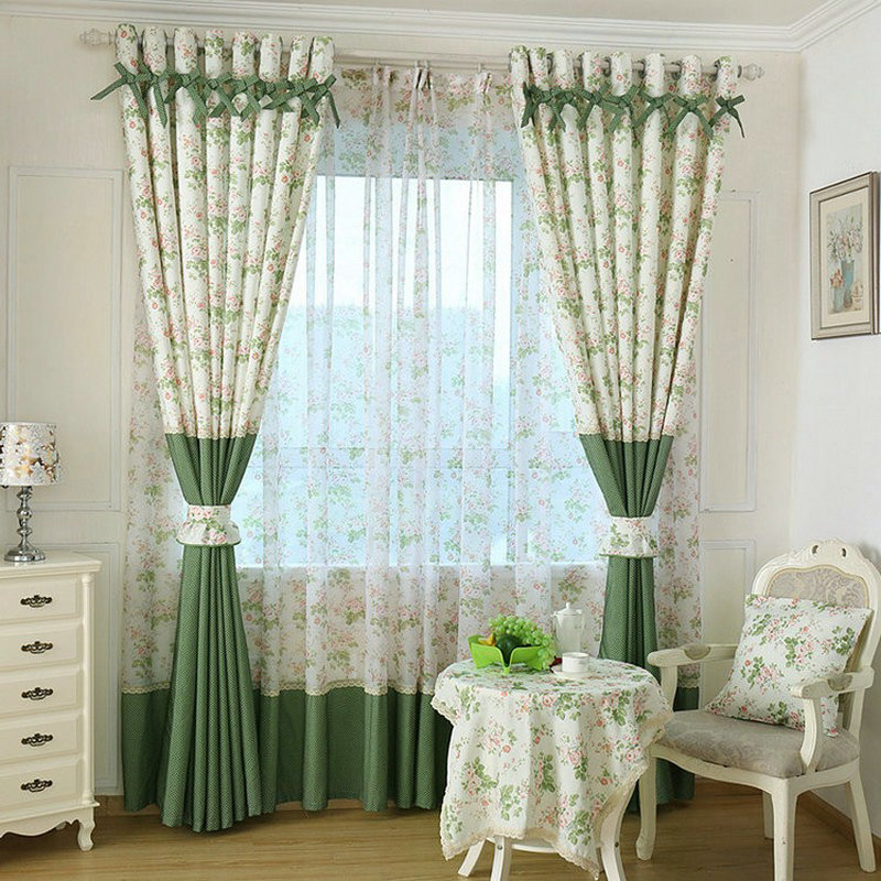 Modern Style Small Floral Printed Curtain For Kitchen Blackout Green  Curtains Window Drape/ Panels/Treatment Home Decor Floral In Curtains From  Home ...