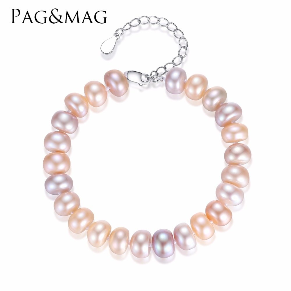 PAG&MAG Charming Natural Mixed Color Pearl Bracelets for Women 925 Sterling Silver Chain Pulseras Mujer Femme Wedding Jewelry