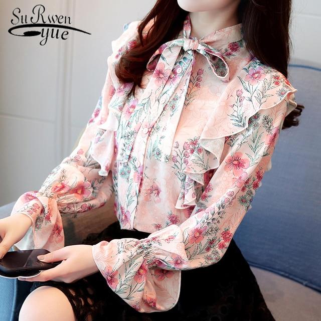 Print Chiffon Blouse Shirt Fashion Woman Blouses 2019 Long Sleeve OL Blouse Sweet Bow Stand Collar Blusa Feminina Shirt 0966 40