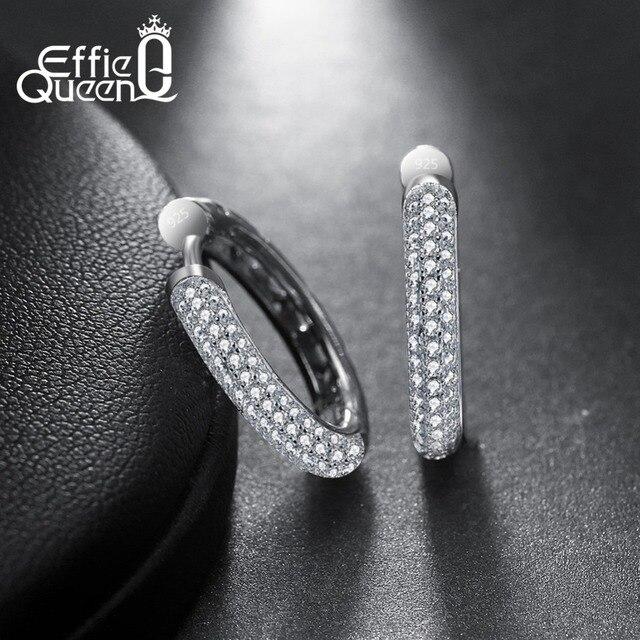 Effie Koningin Mode 925 Sterling Zilveren Vrouwen Oorringen Luxe Rij Zirconia S925 Stamped Sieraden Voor Meisje Gift BE19