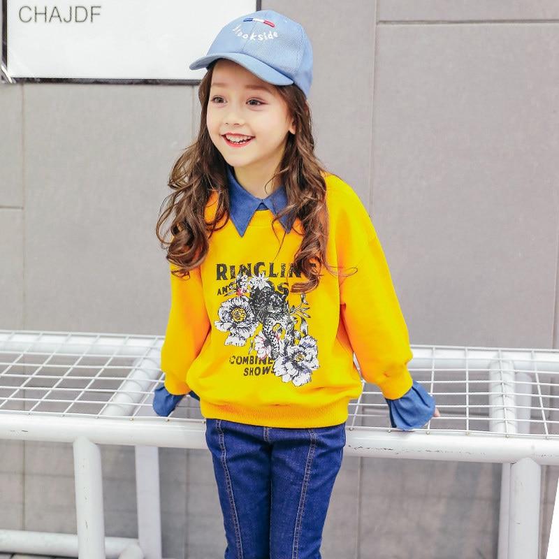 2018 adolescents filles Blouse chemise haute faux deux pièces conception Denim pull manches Floral vêtements pour l'âge 456789 10 11 12 ans
