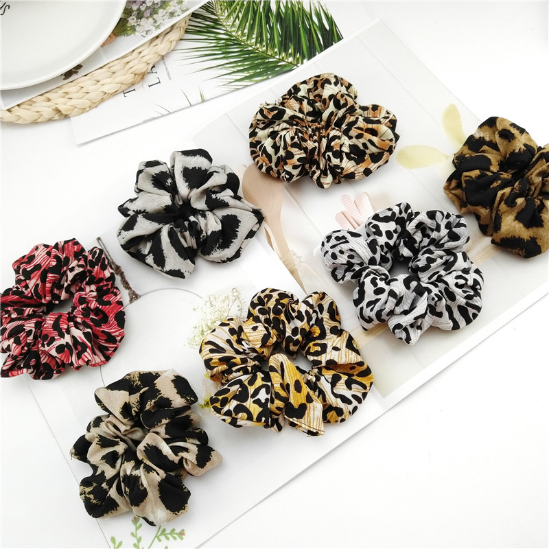 New Ponytail Holder Hair Ties Rope Headbands Women Leopard Dot print Hair Scrunchies   Headwear   Elastic Hair Bands Large intestine