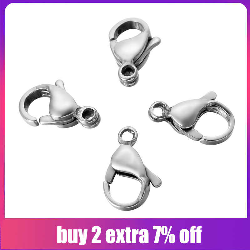 FUNIQUE 50PCs Stainless Steel Lobster Clasps Hooks Jewelry Findings DIY Necklace Bracelet Making Jewelry Accessories 9/10/12mm