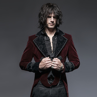 Gothic New Style Gentleman Classical Velour Dovetail Long Jacket Steampunk Red Tuxedo Coats