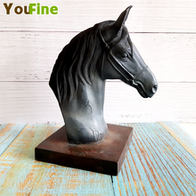 Classic Vintage Bronze Horse Head Statue European Simulation Ornaments Desktop Crafts Home Decoration Gifts
