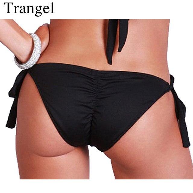 5bd3dc13095a5f Trangel Bikini Kobiet 2018 Czarny Bezczelny Bikini Bottom Brazylijski Stroje  Kąpielowe Majtki Stringi Boczne Regulowane Krawaty