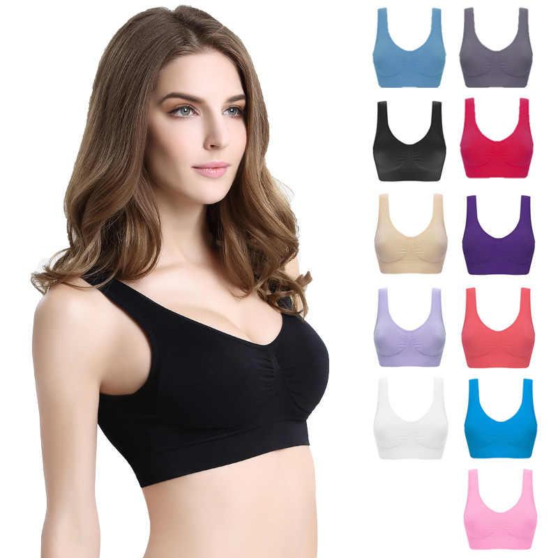 المرأة مثير البرازيلي مع الوسادة دون أثر عالية الخصر الصدرية كبير حجم الملابس الداخلية اللاسلكية الصدرية الرياضية كبيرة الحجم سترة سلس adjusta