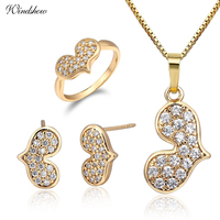 Yellow Gold Color Heart Pave CZ Stud Earrings Necklace Pendant Small Ring Size 2.75 Jewelry Sets For Women Girls Children Kids