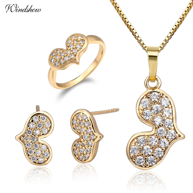 Yellow gold color heart pave cz stud earrings necklace pendant small yellow gold color heart pave cz stud earrings necklace pendant small ring size 275 jewelry sets aloadofball Image collections