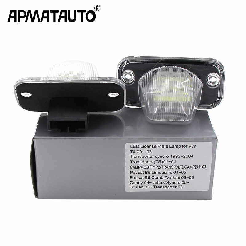 2x white CANbus LED rear license plate light For VW T4 Tranaporter ayncro CAMPMOB Passat B5 Limousine Passat Touran car-styling