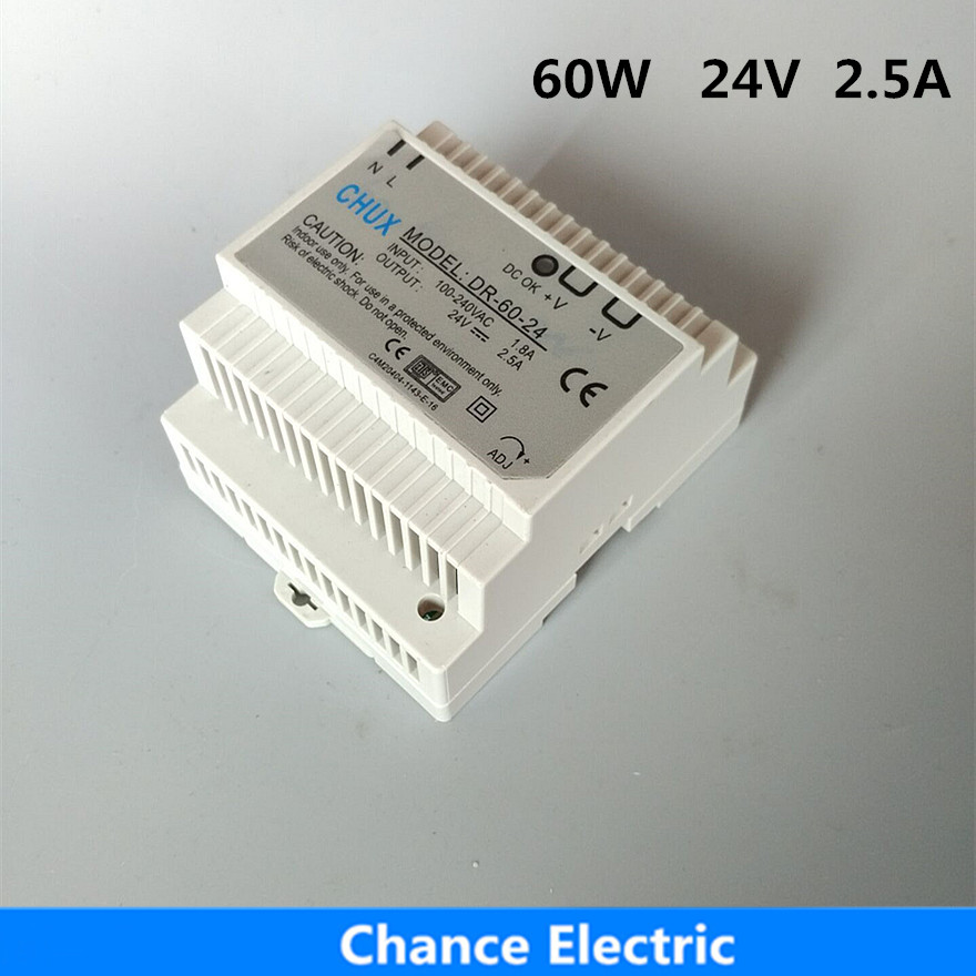 Free Shipping 24VDC 2.5A 60W Din Rail Switching model power supply SMPS DR-60-24 ac dc dr 60 5v 60w 5vdc switching power supply din rail for led light free shipping
