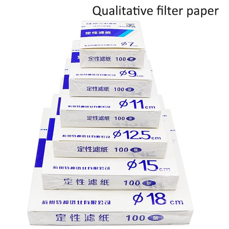 100Pcs/pack Fast/Medium/Slow Speed Qualitative Filter Paper For Lab Funnel Use Dia 7cm/9cm/11cm/12.5cm/15cm/18cm