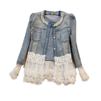 Jeans Jacket Women Outerwear Casacos Feminino Slim Lace Patchwork Beading Elegant Vintage Denim Jackets Coat Female