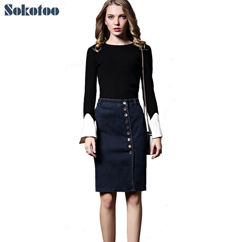 1528d620e34 Sokotoo Women s plus large size knee length denim pencil skirt OL lady  buttons hip-hugger