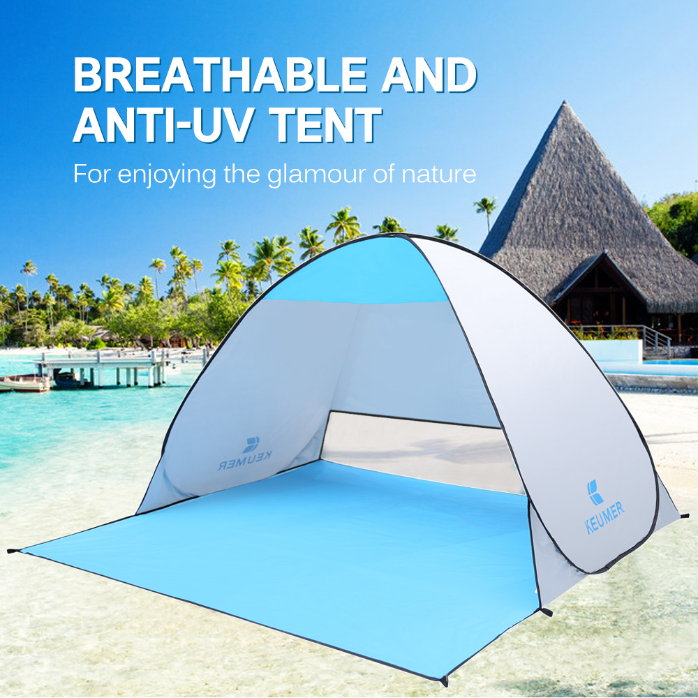 Image 1 - (120+60)*150*100cm Outdoor Automatic Instant Pop up Portable Beach Tent Anti UV Shelter Camping Fishing Hiking Picnic-in Tents from Sports & Entertainment