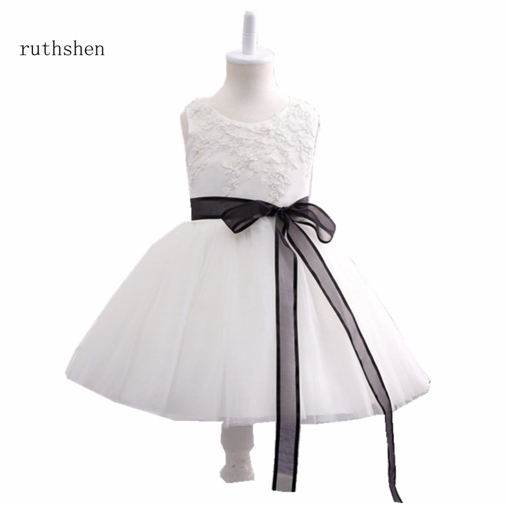 ruthshen Princess Baby   Flower     Girls     Dresses   For Weddings With Pearls Appliques Kids Ankle Length Ball Gowns Pageant   Dress