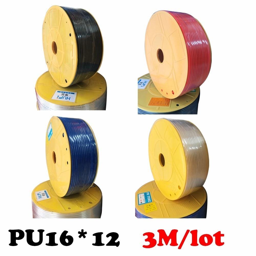 PU16*12 3M/lot  PU Pipe 16*12mm for air & waterHigh pressure air compressor ID 12mm OD 16mm Pneumatic parts pneumatic hose 13mm male thread pressure relief valve for air compressor