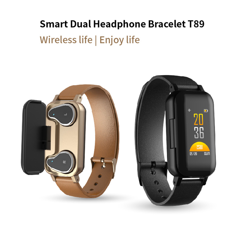 <font><b>T89</b></font> <font><b>TWS</b></font> Smart Dual Headphone Fitness Bracelet <font><b>T89</b></font> Heart Rate Sport Bluetooth Music earphone Waterproof Smart Watch image