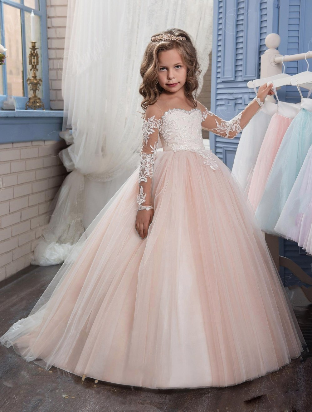 Cute   Flower     Girls     Dresses   for Weddings 2019 Long Sleeve Appliques Lace Ball Gown   Girls   Pageant   Dress   Kids Birthday Gowns