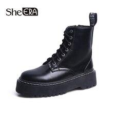 New Fashion Women Boots Black Women Ankle Boots Round Toe Zip Boots Platform Shoes Classic Women Shoes She ERA
