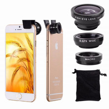 Universal clip on phone 3in1 lenses for Moblie Smart Phones 3 in 1 FishEye Wide Angle Macro Lens For iPhone For XIAO MI