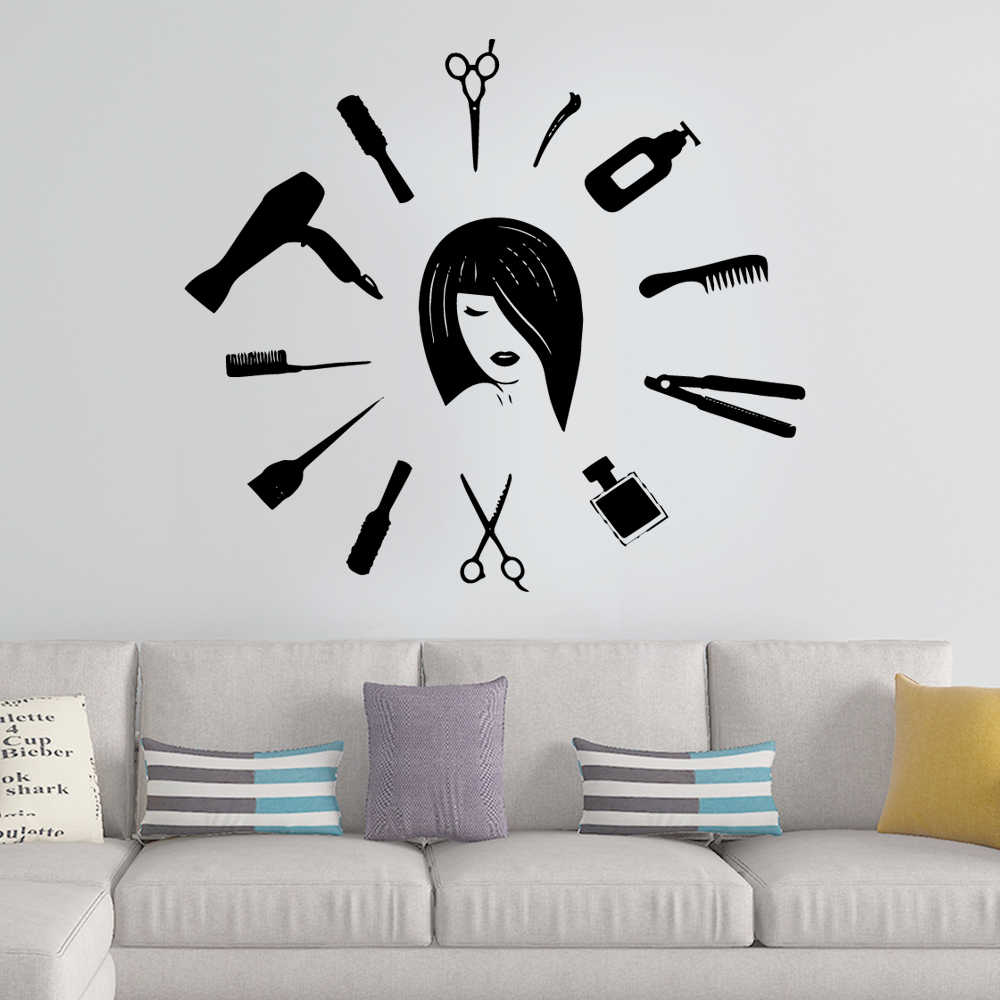 Moderne Hair Cut Pvc Wall Art Stickers Moderne Mode Muursticker Voor Beauty Salon Muurtattoo Vinyl Muurschildering Verwijderbare Muursticker