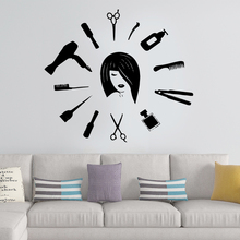 Modern Hair Cut Pvc Wall Art Stickers Fashion Wallsticker For Beauty Salon Decal Vinyl Mural Removable Sticker