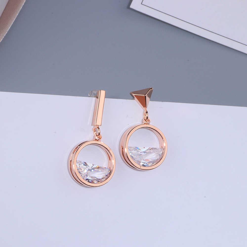 2018 חדש עיצוב אסימטרית עגילים לנשים גיאומטרי צורת עלה זהב צבע קריסטל Drop עגילי נקבה תכשיטי מתנה WX109