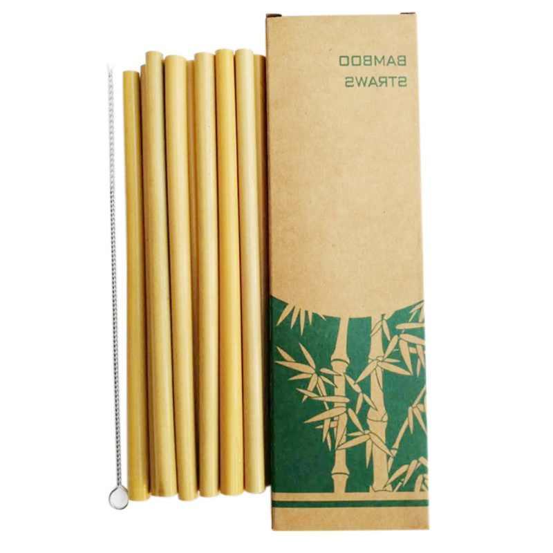 10pcs Natural Environmental Protection Bamboo Drinking Straw Reuse bamboo product Kitchen Home Bar Outdoor Drinking Tools