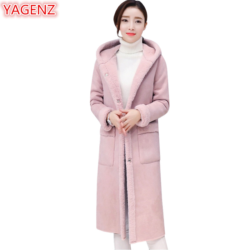YAGENZ High quality Women's clothing Winter Coat Women Long Coat Pink Woolen Coat Fashion Warm Single breasted Hooded Jacket 729