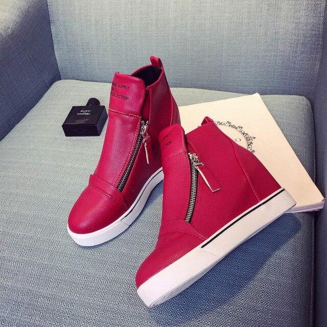 Высота Увеличение Новый 2017 Женская Мода Повседневная Обувь Вулканизируют Zip Дышащей Обуви Толстым Дном ПУ Обувь Для Женщин D102