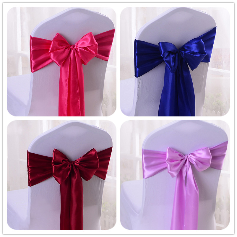 WedFavor 50pcs Satin Chair Sash Bows Ribbons Wedding Chair Butterfly Ties For Party Event Banquet Hotel Decoration