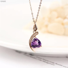 wholesale gemstone jewelry 18k rose gold natural purple crystal amethyst necklace pendant for women wedding engagement gift