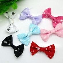 50 шт. смешанный детский атласный бант-звезда, заколки для волос, аппликация, сделай сам, Свадебный галстук-бабочка, украшение для скрапбукинга, 3,5x2,2 см