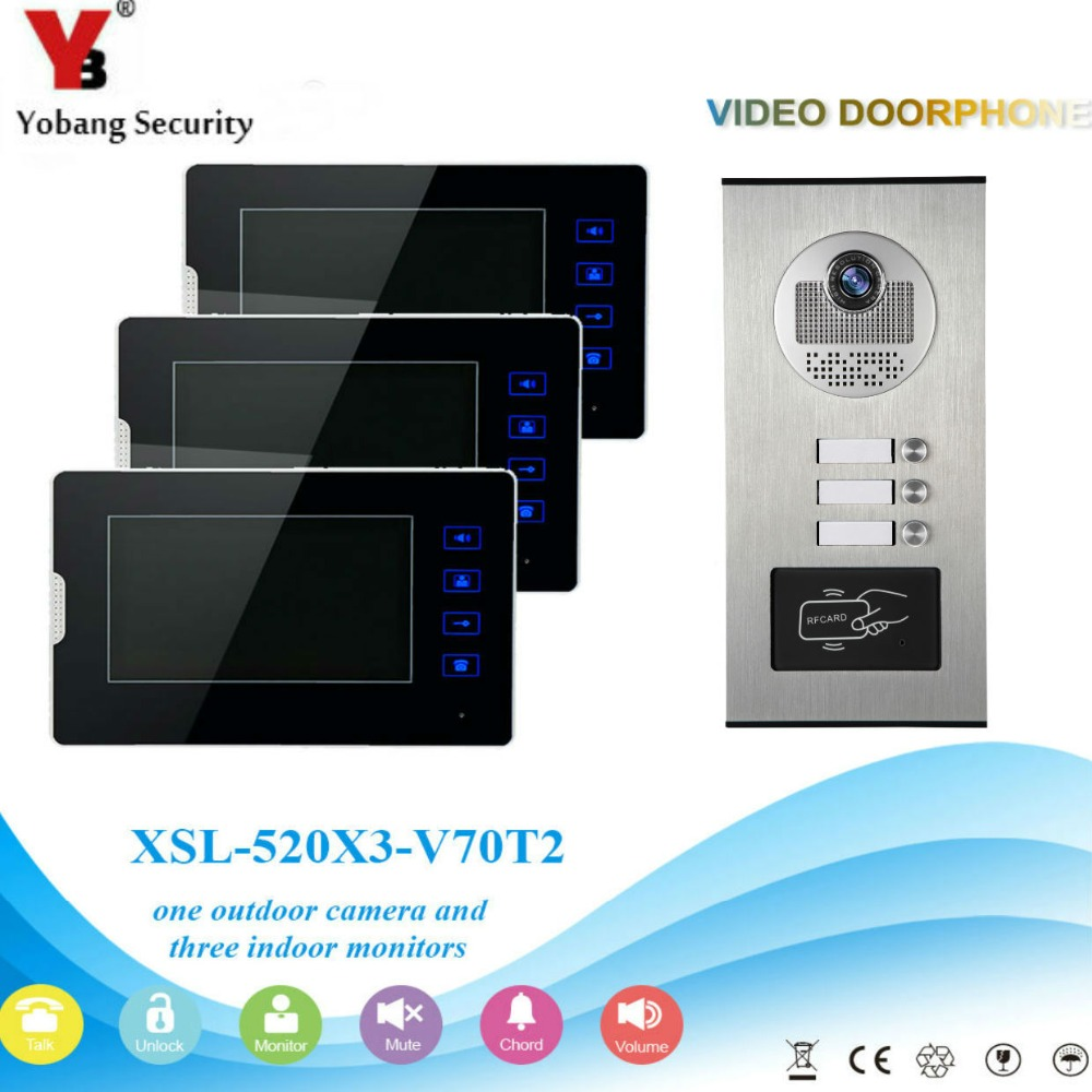 YobangSecurity 1 Camera 3 Monitor Video Intercom 7 Inch HD Video Door Phone Doorbell Response RFID Home Security Access Control