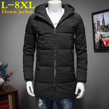 2017 big size 8XL 7XL Winter Down Jacket Men Coat Hooded Long White Duck Down Parka Thickening Warm Outwear  Men Winter Jacket