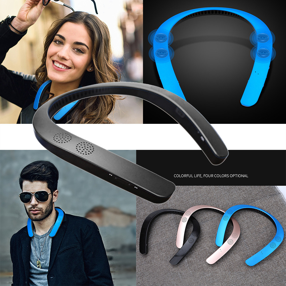 Bluetooth 5.0 wireless neckband neck speaker FM AUX SD USB stereo soundtrack amplifier for iPhone #Zer image