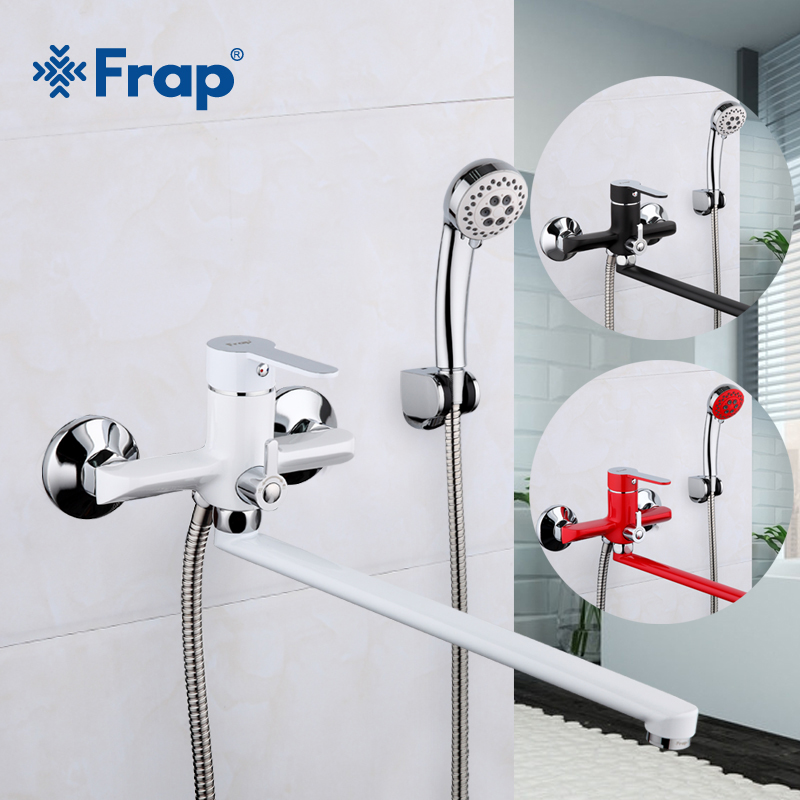 все цены на Frap 1 set 340mm Outlet pipe Multi-color Bath shower faucet Brass body surface Spray painting shower head F2241 F2242 F2243 онлайн
