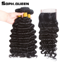 Soph queen Hair Peruvian Deep Wave 3 Bundles With Closure Remy Deep Wave Human Hair Weave Cabelo Pelo