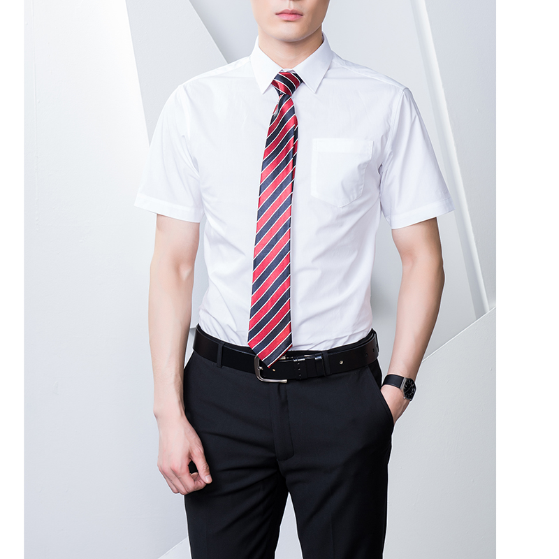 Mens Shirt Short Sleeve 100% Cotton Fabric White Blue Black Red Colours Formal Business Office Work Wear