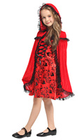 Children's Halloween Girls fancy dress little red cosplay costume children Red Cloak Red Dress costume clothing