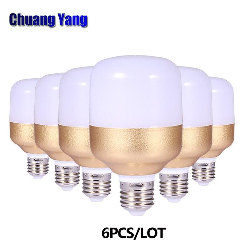 6PCS/LOT LED Bulb E27 Lampada Ampoule Bombilla 220V 230V 240V SMD2835 Cool White 6500K LED Lamps 10W 15W 20W 30W 40W Lights