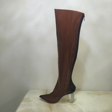 Coffee Plastic Women Boots Over Knee High Clear Chunky Heels Pointed Toe See Through PVC Shoes Women Long Boots Real Images