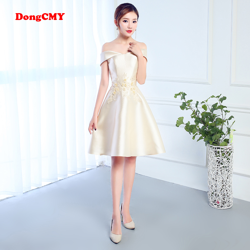 DongCMY CG1030 New Short Champagne sleeveless lace-up bride Flower   Bridesmaid     dresses