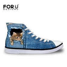 FORUDESIGNS 2016 Fashion Adults High Top Canvas Shoes Women Casual Flats Men Black Stars and Stripes Flags Printed Lace-up Shoes недорого