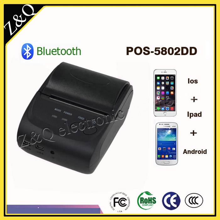 US $1920 0 |58mm Portable Thermal Bluetooth Receipt Printer POS 5802DD  support windows Android and ISO system with battery-in Printers from  Computer &