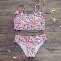 52d73b1a070a Girls Bikini Suit Cute Floral Mosaic Print Sailor Two Piece Beachwear Child Bikini  Swimsuit Baby Bathing