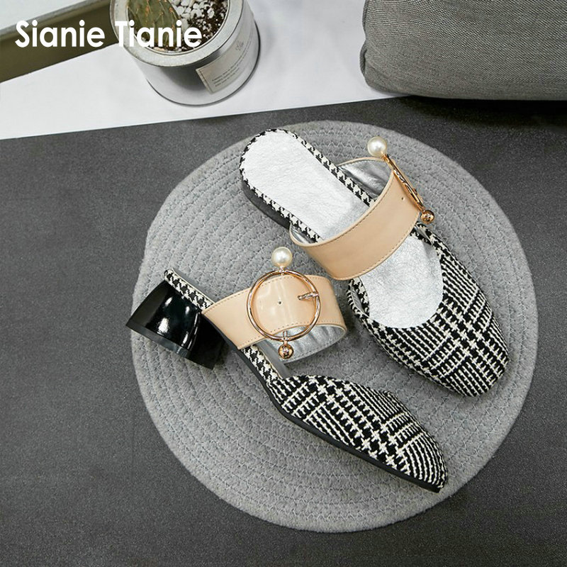 Sianie Tianie 2018 summer fashion lady slides with pearls metal buckle woman slippers houndstooth women mules size 47 48 slip on 2015 new big size sexy high heel slipper women fashion woman slippers summer platform slides brand soft pu slip on lady slippers page 1